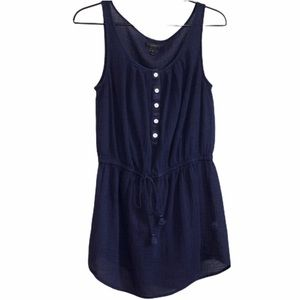 J.Crew Navy Blue Sleeveless Shirt Dress Small